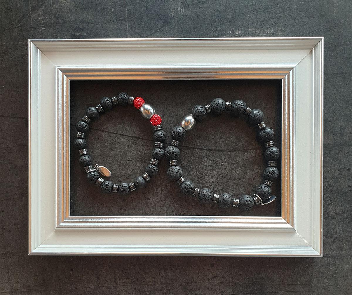 Drahtoria Armband - Lavaperlen mit rotem Glitzerstein